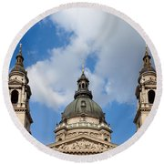 St. Stephen's Basilica Dome And Bell Towers Round Beach Towel