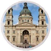 St. Stephen's Basilica In Budapest Round Beach Towel