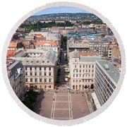 St Stephen's Square In Budapest Round Beach Towel