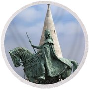 St Stephen's Statue In Budapest Round Beach Towel