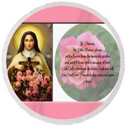 St. Theresa Prayer With Pink Border Round Beach Towel