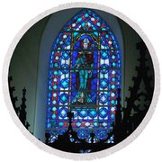 St Thomas Stained Glass Round Beach Towel