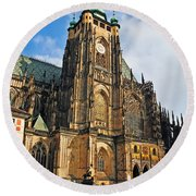 St. Vitus Cathedral Round Beach Towel