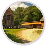 Stable Entrance Round Beach Towel
