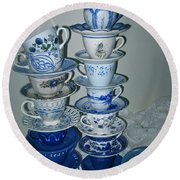 Stack Of Blue Teacups  Round Beach Towel