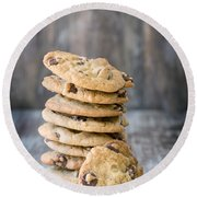 Stack Of Chocolate Chip Cookies With One Leaning Kitchen Art Round Beach Towel