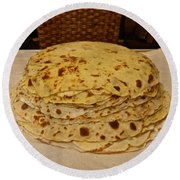 Stack Of Lefse Rounds Round Beach Towel