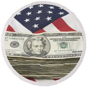 Stack Of Money On American Flag  Round Beach Towel