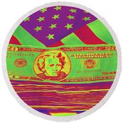 Stack Of Money On American Flag Pop Art Round Beach Towel