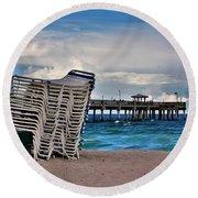 Stacked Beach Chairs Round Beach Towel