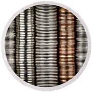 Stacked Coins Round Beach Towel