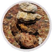 Stacked Rocks In Aruba Round Beach Towel