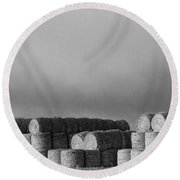 Stacked Round Hay Bales Bw Panorama Round Beach Towel