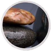 Stacked Stones 3 Round Beach Towel by Steve Gadomski