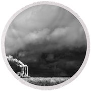 Stacks In The Clouds Round Beach Towel