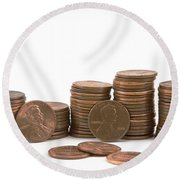 Stacks Of American Pennies White Background Round Beach Towel