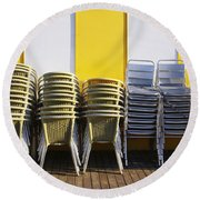 Stacks Of Chairs And Tables Round Beach Towel by Carlos Caetano