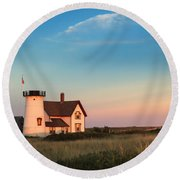 Stage Harbor Lighthouse Round Beach Towel