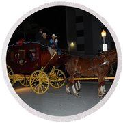 Stagecoach And Horses Round Beach Towel