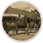 Stagecoach In Old West Arizona Round Beach Towel
