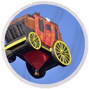 Stagecoach In The Sky Round Beach Towel