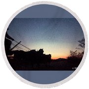 Stagecoach Riding Off Into The Sunset Round Beach Towel