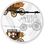 Stagecoach Without Horses - Color Sketch Drawing Round Beach Towel