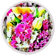 Stain Glass Framed Florals Round Beach Towel