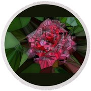 Stain Glass Rose Round Beach Towel