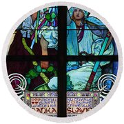 Stained Galss Window In St Vitus Round Beach Towel
