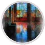 Stained Glass 01 Photo Art Round Beach Towel