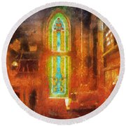 Stained Glass 05 Photo Art Round Beach Towel