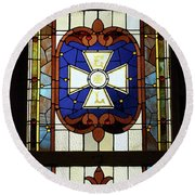 Stained Glass 3 Panel Vertical Composite 01 Round Beach Towel by Thomas Woolworth