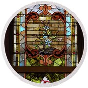 Stained Glass 3 Panel Vertical Composite 02 Round Beach Towel by Thomas Woolworth