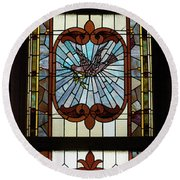 Stained Glass 3 Panel Vertical Composite 03 Round Beach Towel