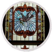 Stained Glass 3 Panel Vertical Composite 05 Round Beach Towel by Thomas Woolworth
