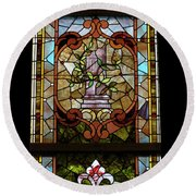 Stained Glass 3 Panel Vertical Composite 06 Round Beach Towel