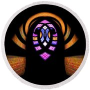 Stained Glass Abstract Round Beach Towel