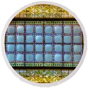 Stained Glass At Md State House Round Beach Towel