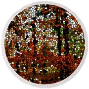 Stained Glass Autumn Colors In The Forest  Round Beach Towel