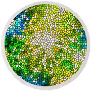 Stained Glass Beautiful Fireworks Round Beach Towel