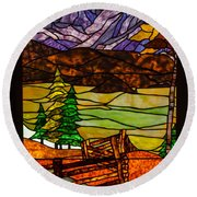 Stained-glass-beauty Round Beach Towel