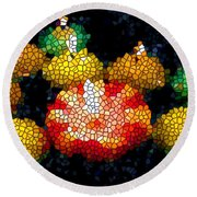 Stained Glass Candle 1 Round Beach Towel