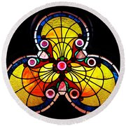 Stained Glass  Round Beach Towel by Chris Berry