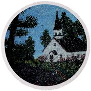 Stained Glass Church Scene Round Beach Towel