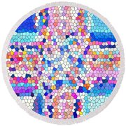 Stained Glass Colorful Cross Round Beach Towel