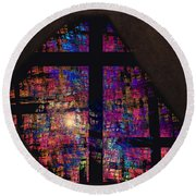 Stained Glass Cross Round Beach Towel