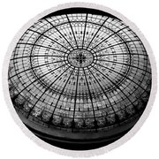 Stained Glass Dome - Bw Round Beach Towel