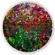 Stained Glass  Fall Reflected In The Still Waters Round Beach Towel