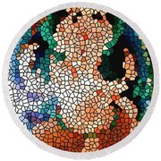 Stained Glass Ganapati Round Beach Towel